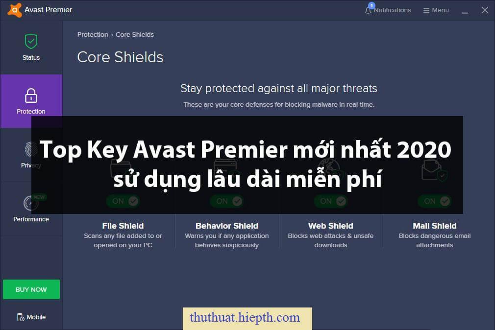 Top Key Avast Premier mới nhất 2020 sử dụng lâu dài miễn phí