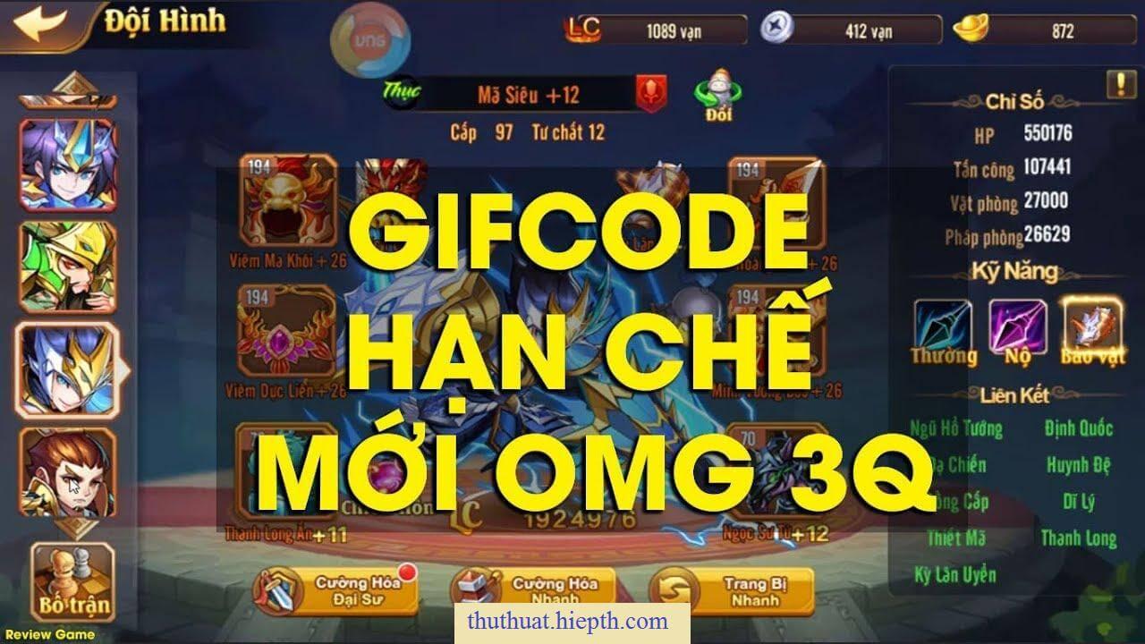 Code OMG 3Q 2020 - Cho 9821 GiftCode omg tháng 09