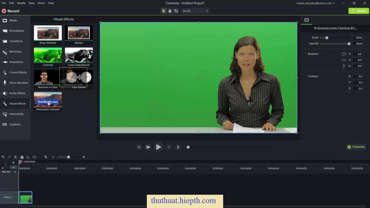 Camtasia 9, green screen effects - YouTube