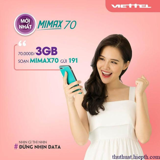 mimax70 viettel tiết kiệm 4G thả ga